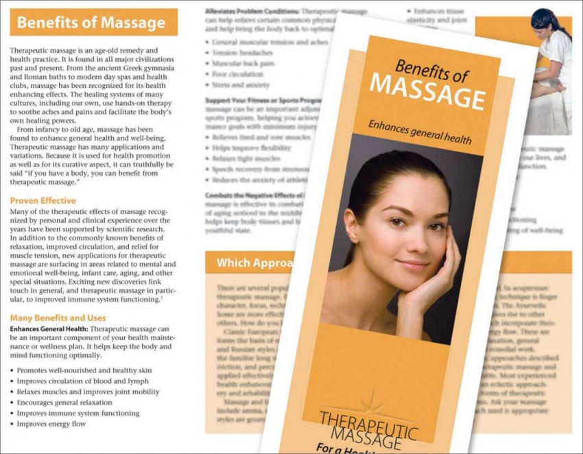 Benefits of massage brochure massage products by hemingway for Massage brochure template